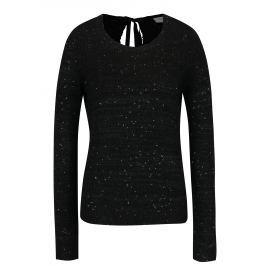 Černý žíhaný svetr s flitry a mašlí za krkem VILA Minty