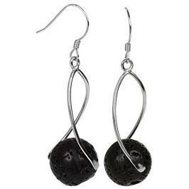 JwL Luxury Pearls Dlouhé stříbrné náušnice s černými lávovými kameny JL0280