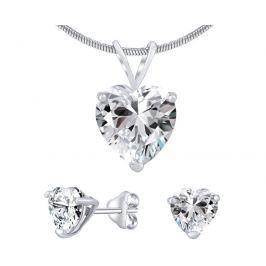 Silvego Stříbrný set šperků s čirým křišťálem JJJHEART01 (náušnice, přívěsek)