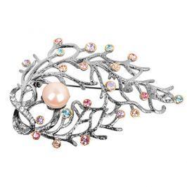 JwL Luxury Pearls Luxusní brož 2v1 s pravou perlou a barevnými krystaly JL0389