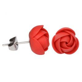 Troli Červené náušnice puzetky menší kytičky