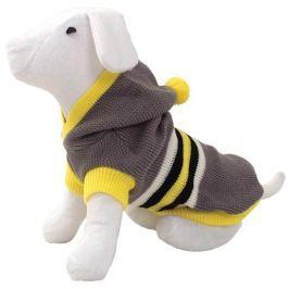 Svetr DOG FANTASY s kapucí a proužky šedý 45cm