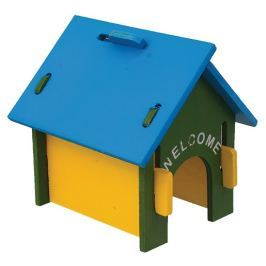 Domek SMALL ANIMAL dřevěný barevný 17 x 15 x 17,5 cm