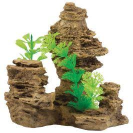 Aqua Excellent Dekorace Skála s rostlinou 14 cm