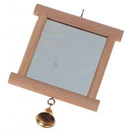 Hračka FLAMINGO zrcátko dřevěné + zvonek