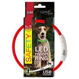 Dog Fantasy LED světelný obojek z nylonu červený 45cm