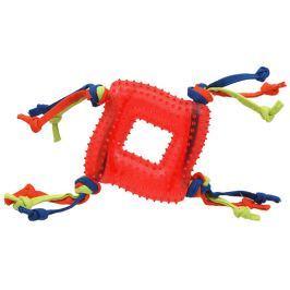 Hračka Dog Fantasy čtverec s provázky guma červená 20cm