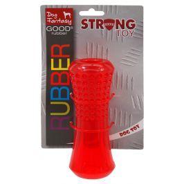 Hračka Dog Fantasy STRONG trubka s důlky červená 15.2cm