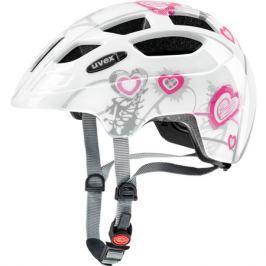 Dětská cyklistická helma Uvex Finale Junior LED bílá-růžová srdíčka
