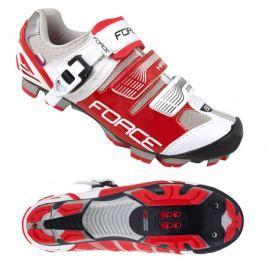 Cyklistické tretry Force MTB HARD bílo-červené