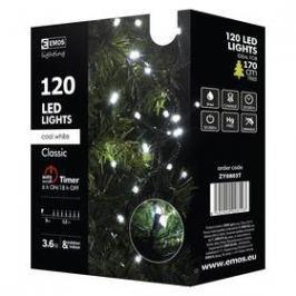 EMOS 120 LED, 12m, řetěz, studená bílá, časovač, i venkovní použití (1534080035)