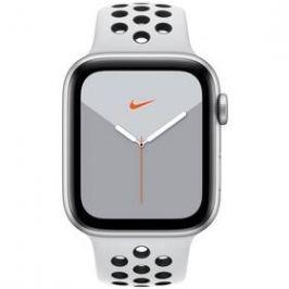 Apple Watch Nike Series 5 GPS 44mm pouzdro ze stříbrného hliníku - platinový/černý sportovní řemínek Nike (MX3V2HC/A)