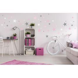 Forclaire Dekorace na zeď - hvězdičky šedá/růžová