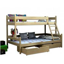 Vomaks Patrová postel s rozšířeným spodním lůžkem PPS 002 140x200 bílá, s úložným prostorem - II. jakost