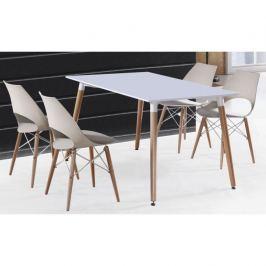 ATAN Jídelní stůl DIDIER - bílá / přírodní - II. jakost