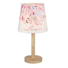 Tempo Kondela Stolní lampa QENNY TYP 8 - dřevo / látka vzor květy