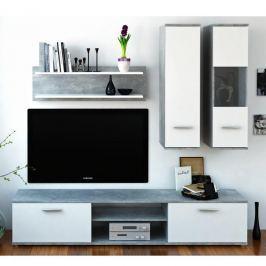 Autronic Obývací stěna WAW - beton / bílá - II. jakost
