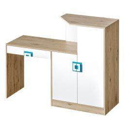 Casarredo Pracovní stůl s komodou NIKO 11 dub jasný/bílá/tyrkys