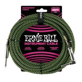 Ernie Ball 25' Braided Cable Black/Green