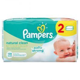 Pampers vlhčené ubrousky Naturally Clean 2x64 ks