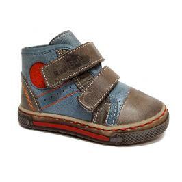 Ren But Chlapecké kožené kotníkové boty- šedo-modré