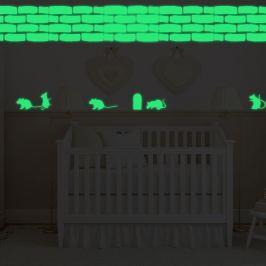 Walplus Svítící samolepka na zeď myšky a cihlová zeď