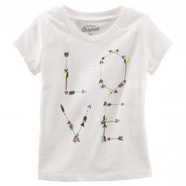 Oshkosh Dívčí tričko s potiskem Love - bílé
