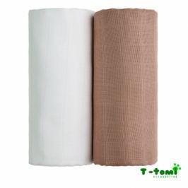 T-tomi Látkové TETRA osušky 100x90, sada 2ks, bílá+béžová