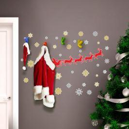 Walplus Samolepka na zeď - Santa Claus, sobi a hvězdy