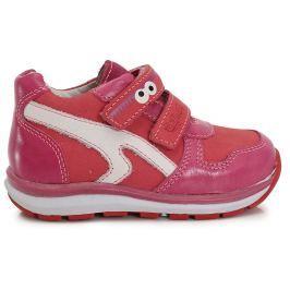 Ponte 20 Dívčí kožené boty s očima - růžové