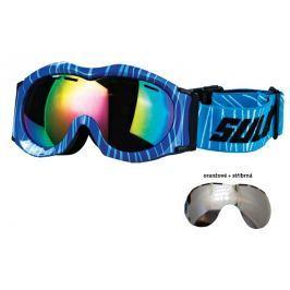 Sulov Brýle sjezdové dětské SULOV MONTY, dvojsklo (oranžové se stříbrou úpravou) - modré