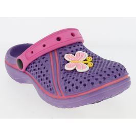 V+J Dívčí gumové sandály s motýlkem - fialové