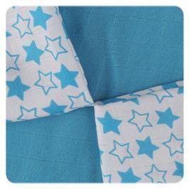 XKKO Bambusové ubrousky 30x30 Little Stars Cyan MIX (9ks)