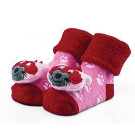 Attractive Dívčí ponožky s liškou - růžovo-červené