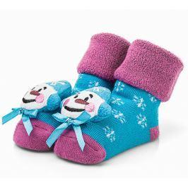 Attractive Dívčí ponožky se sněhulákem - růžovo-modré