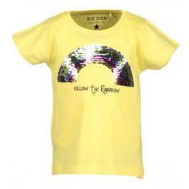 Blue Seven Dívčí tričko s flitry - žluté