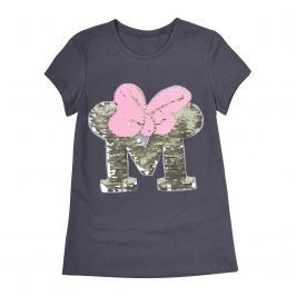 Garnamama Dívčí tričko s flitry - šedé