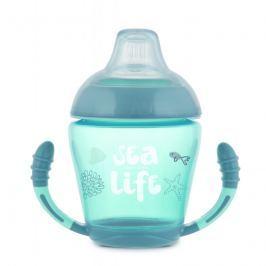 Canpol babies nevylévací hrníček se silikonovým pítkem 230 ml sea life šedý