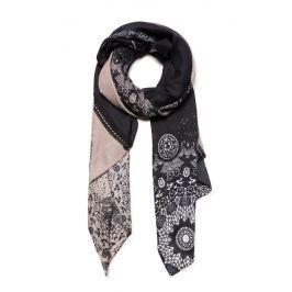 Desigual Dámský obdélníkový šátek Patch 2 Tones 19WAWA50 - černá