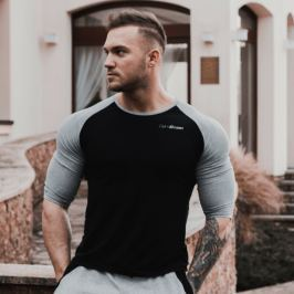 GymBeam Tričko Fitted Sleeve Black - S