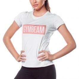 GymBeam Dámske tričko Box Logo Light White Pink - XS