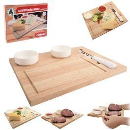Prkénko dřevo+nůž+misky keramika ORION