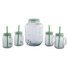CS SOLINGEN Sklenice na limonádu sada s dávkovacím soudkem 5 ks zelená CS-070809zele