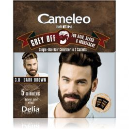 Delia Cosmetics Cameleo Men jednorázová barva pro okamžité zakrytí šedin odstín 3.0 Dark Brown 2 x 15 ml