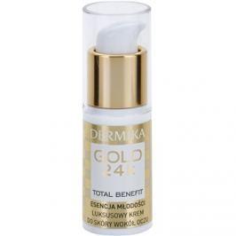 Dermika Gold 24k Total Benefit luxusní omlazující krém na oční okolí  15 ml