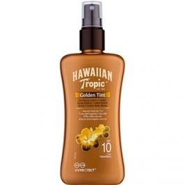 Hawaiian Tropic Golden Tint ochranné tělové mléko ve spreji SPF 10  200 ml