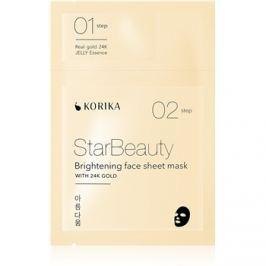 KORIKA StarBeauty rozjasňující plátýnková maska s 24 karátovým zlatem 3 g + 25 g