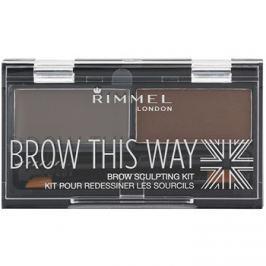 Rimmel Brow This Way paleta pro líčení obočí Dark Brown 2,4 g