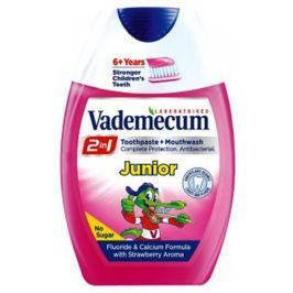 Vademecum Junior Jahoda 2v1 zubní pasta a ústní voda v jednom 75 ml