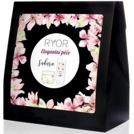 Ryor Sakura Elegantní péče cukrový peeling s japonskou třešní 325 g + sprchový gel s japonskou třešní 200 ml + froté ručník 30 x 50 cm, kosmetická sada